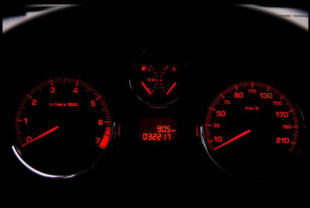 Zoom sur un tableau de bord de voiture
